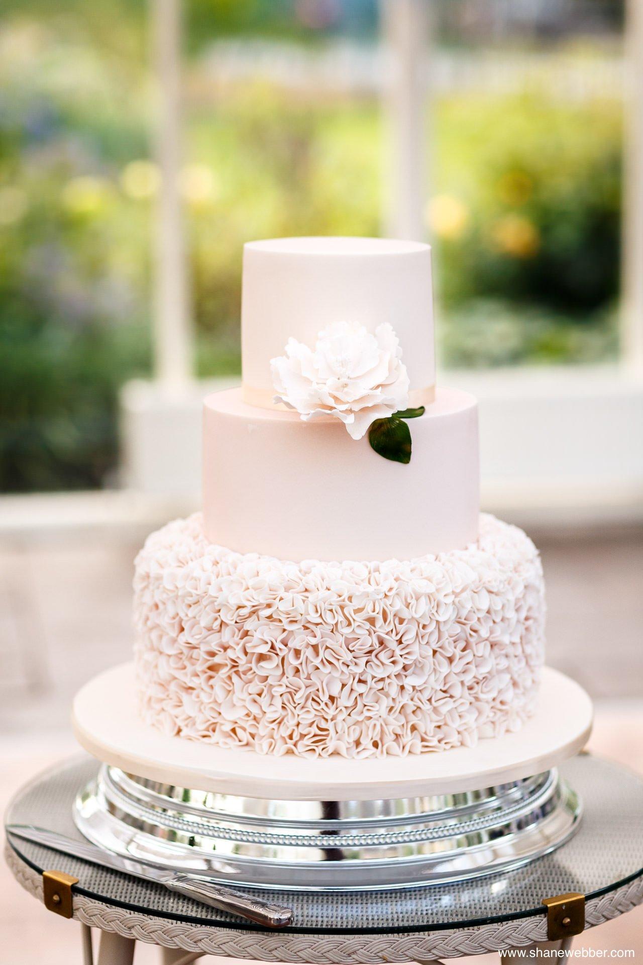 simple pink wedding cake