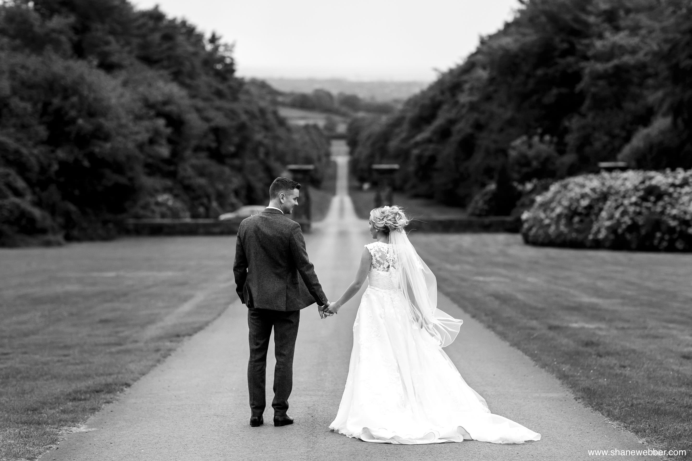 Black and white Hoghton Tower wedding photography