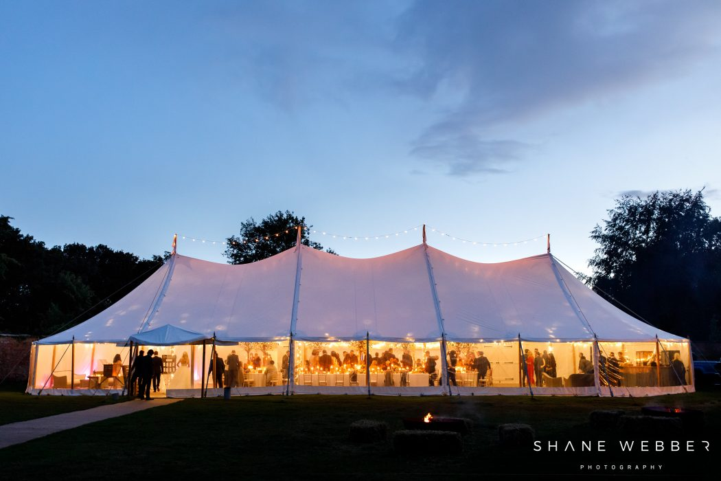 wedding marquee at dorfold hall