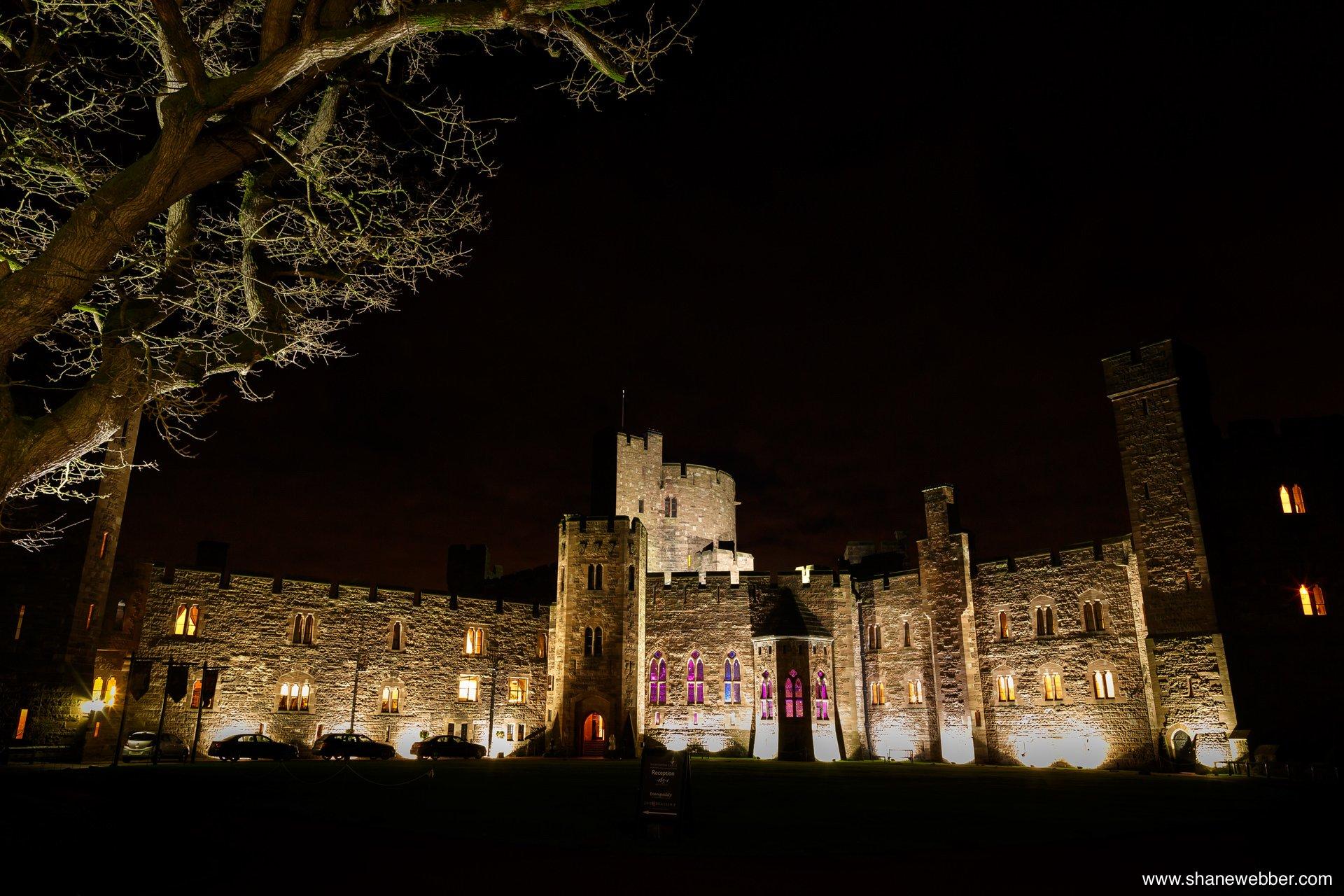 peckforton castle night time