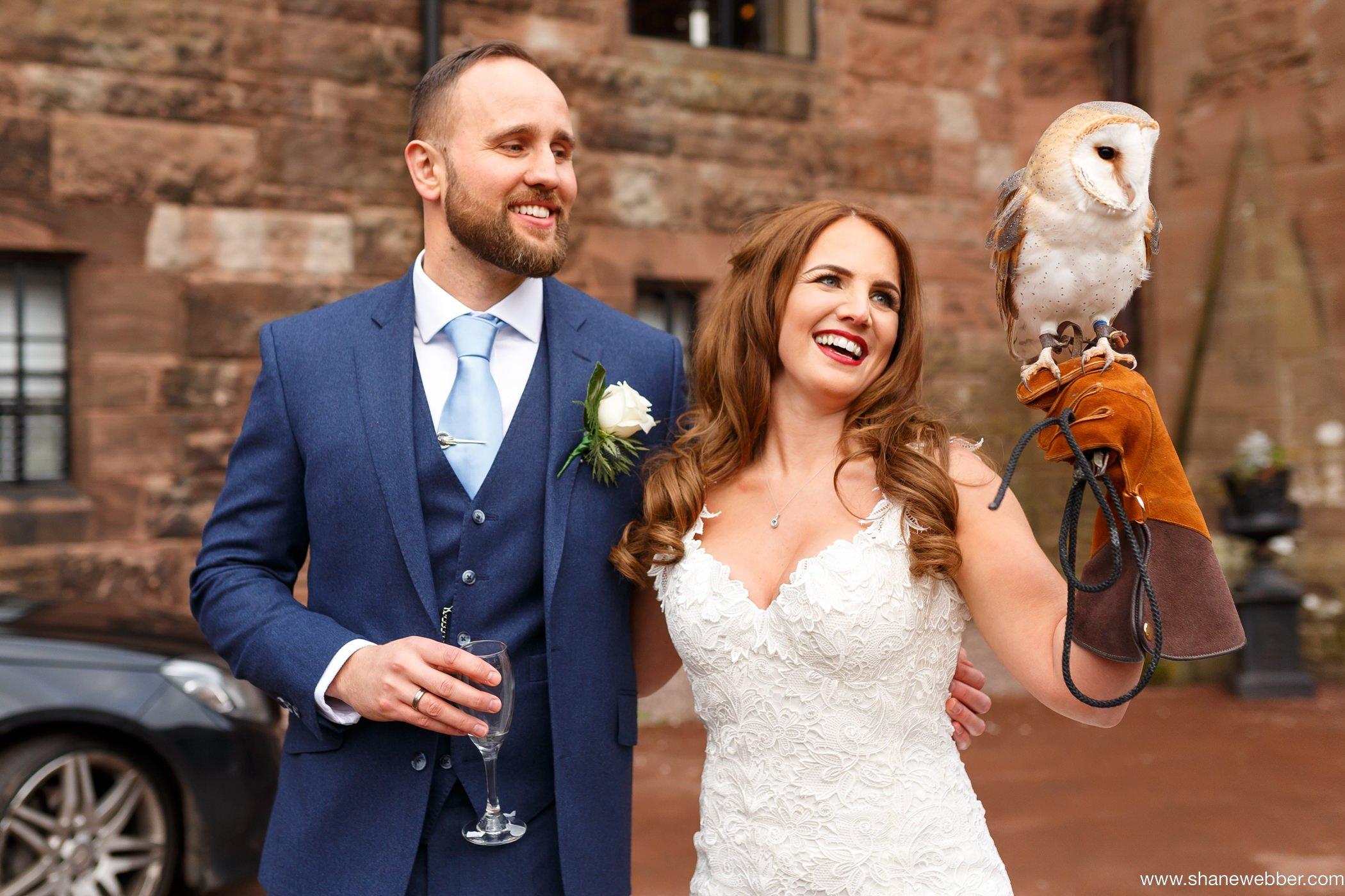 bird of prey wedding ring bearer manchester