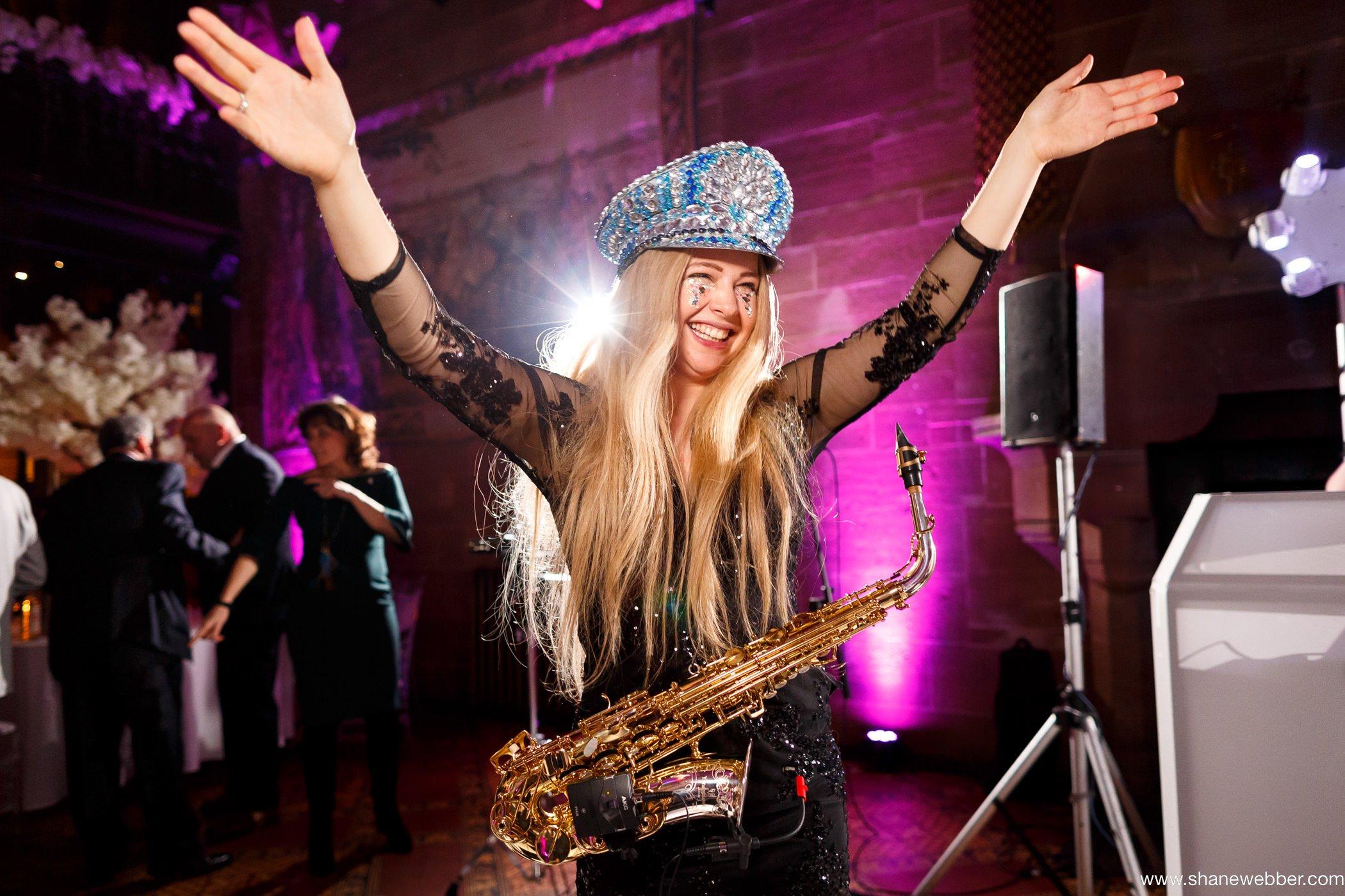 girl on sax wedding entertainment