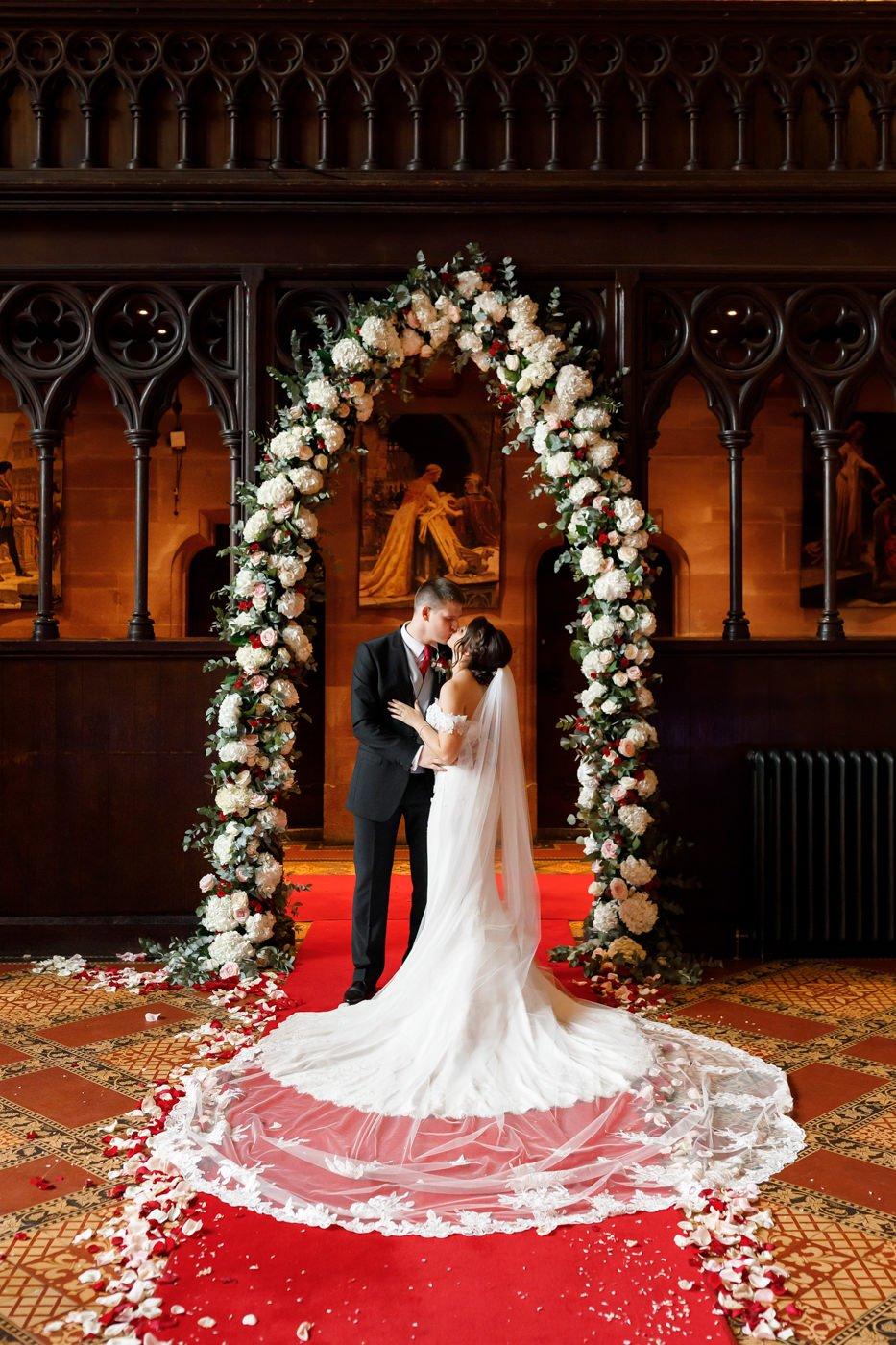 flower arch Peckforton Castle