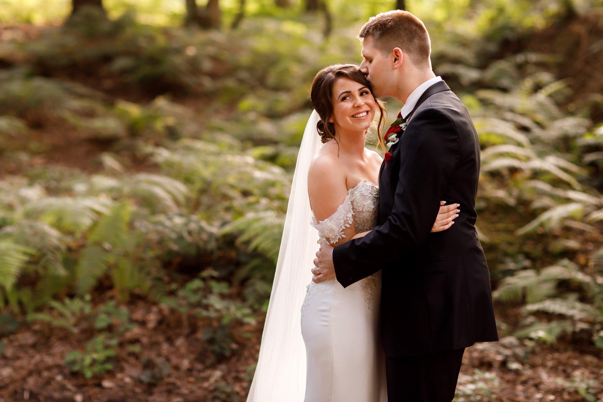wedding photo Peckforton Castle gardens