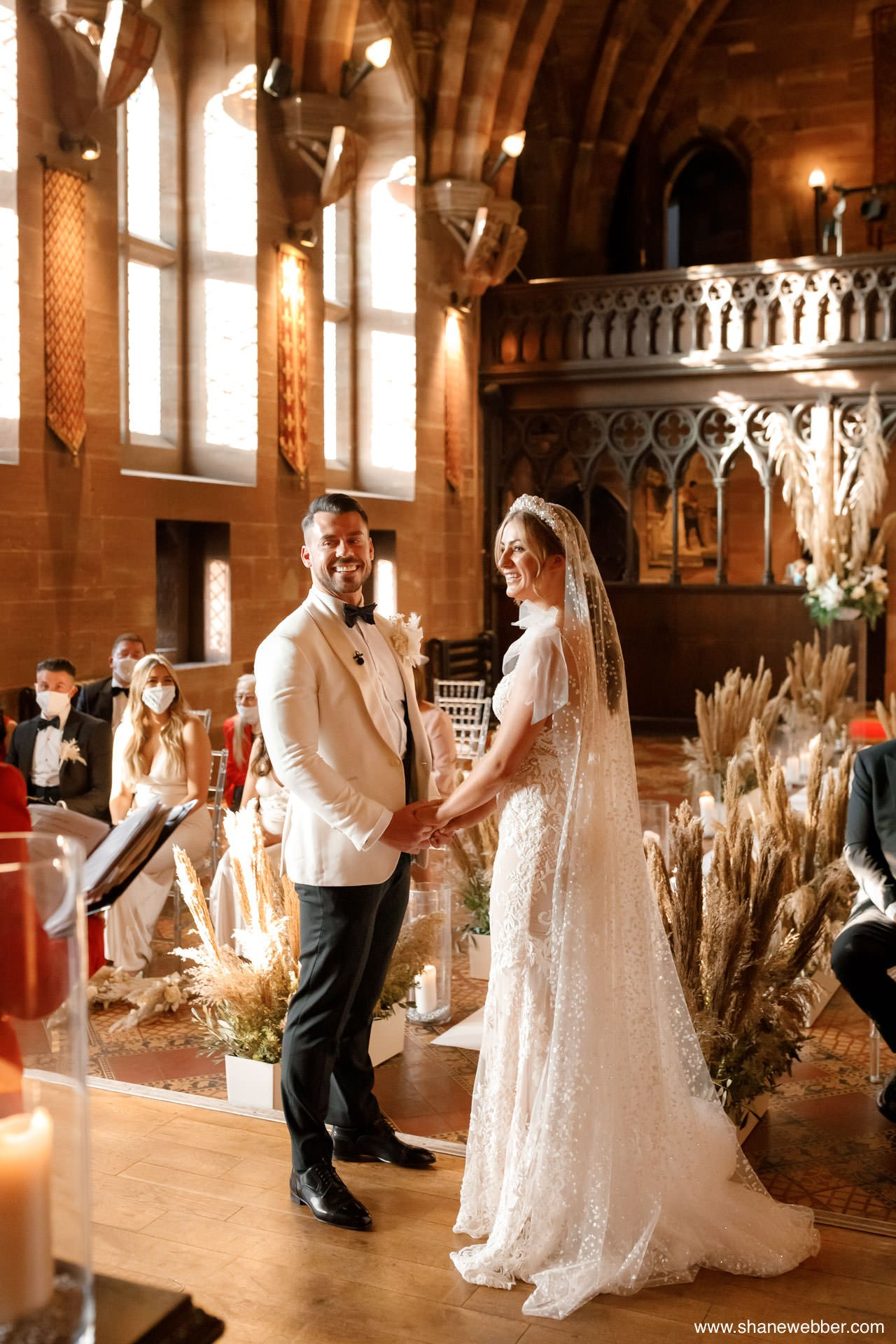 Natural wedding ceremony photography at Peckforton Castle