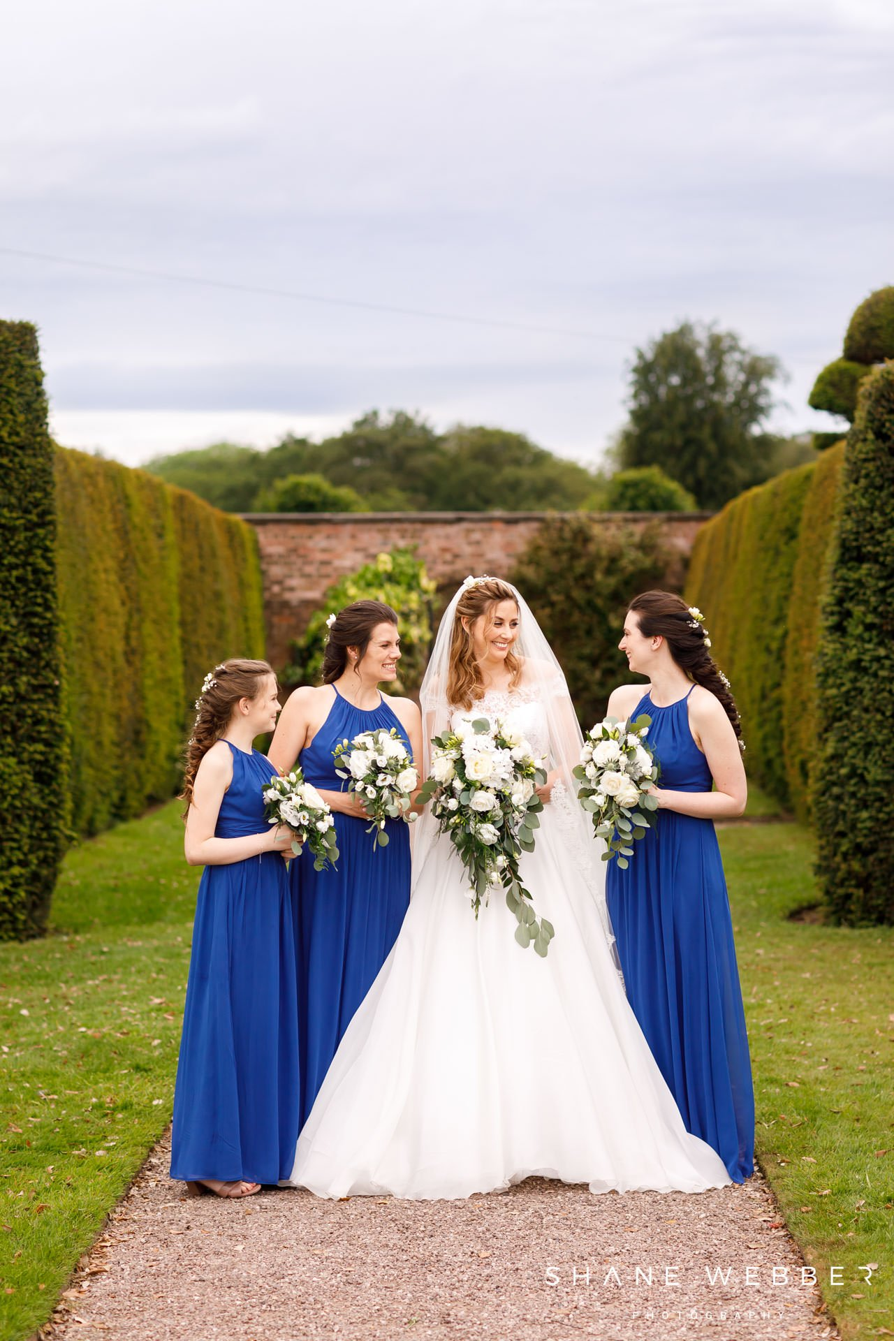 Photo of bridal party at Arley Hall in Cheshire