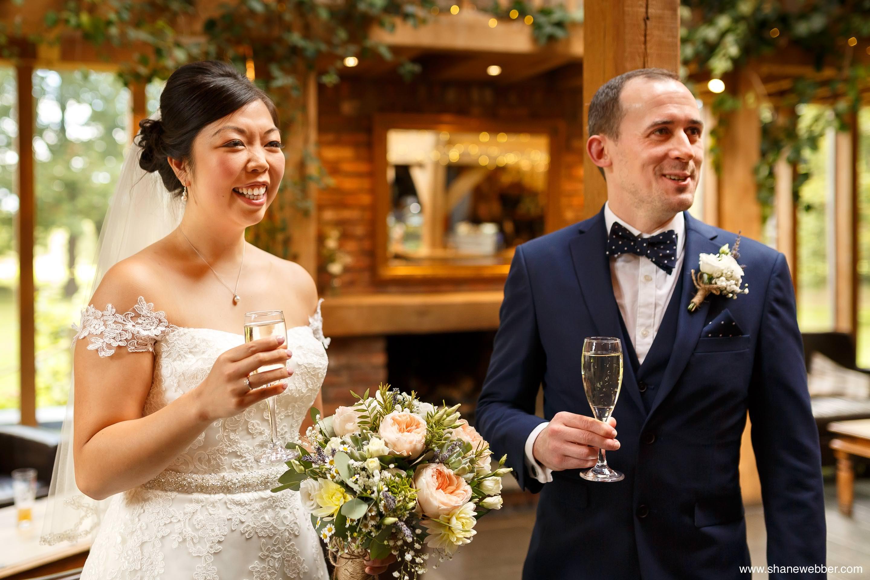 Bride and groom at Oak Tree wedding