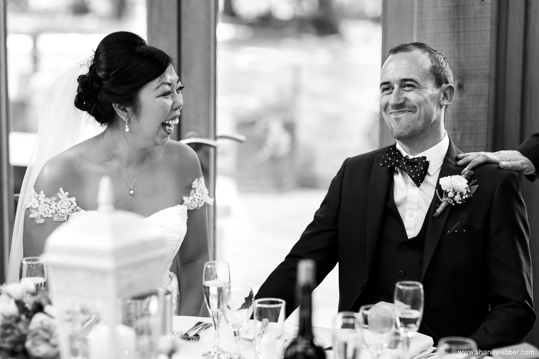 Black and white wedding speech photography