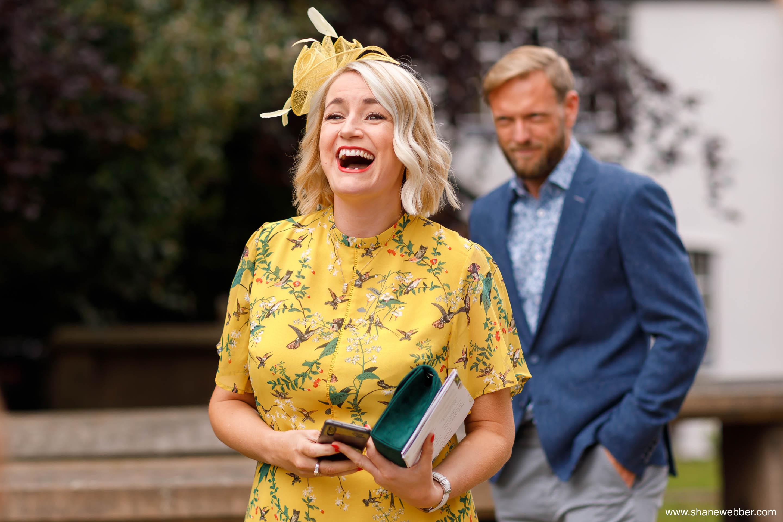 Wedding guest celebrating at Oak Tree Peover
