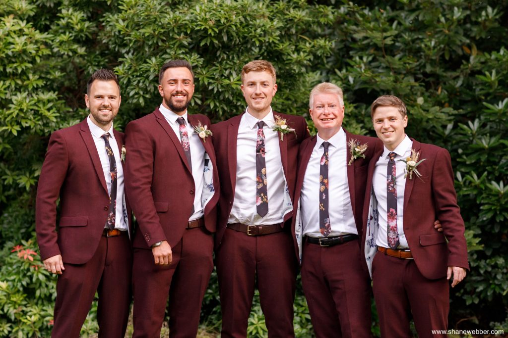 grooms burgundy wedding suits