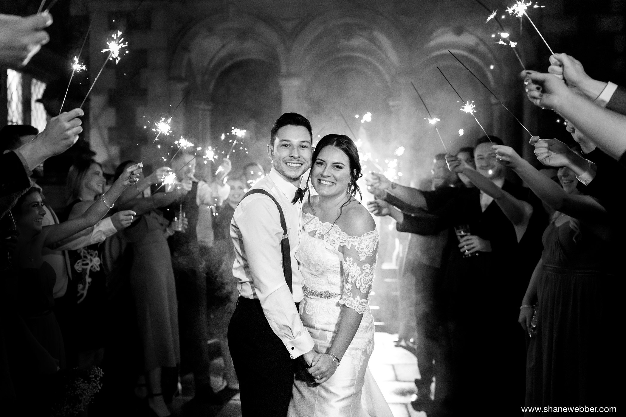 sparkler wedding photo outside Crewe Hall