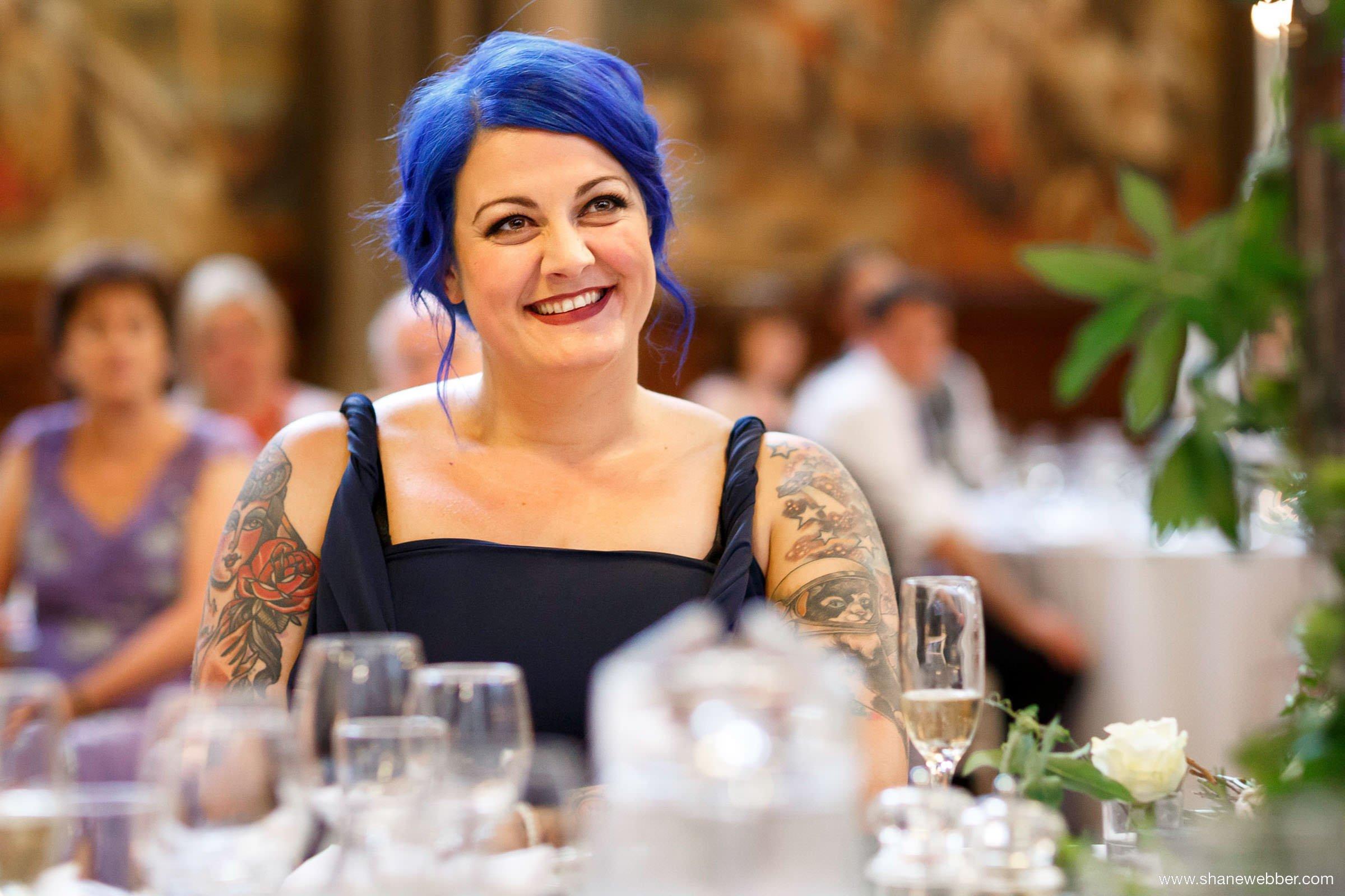 bridesmaid blue hair