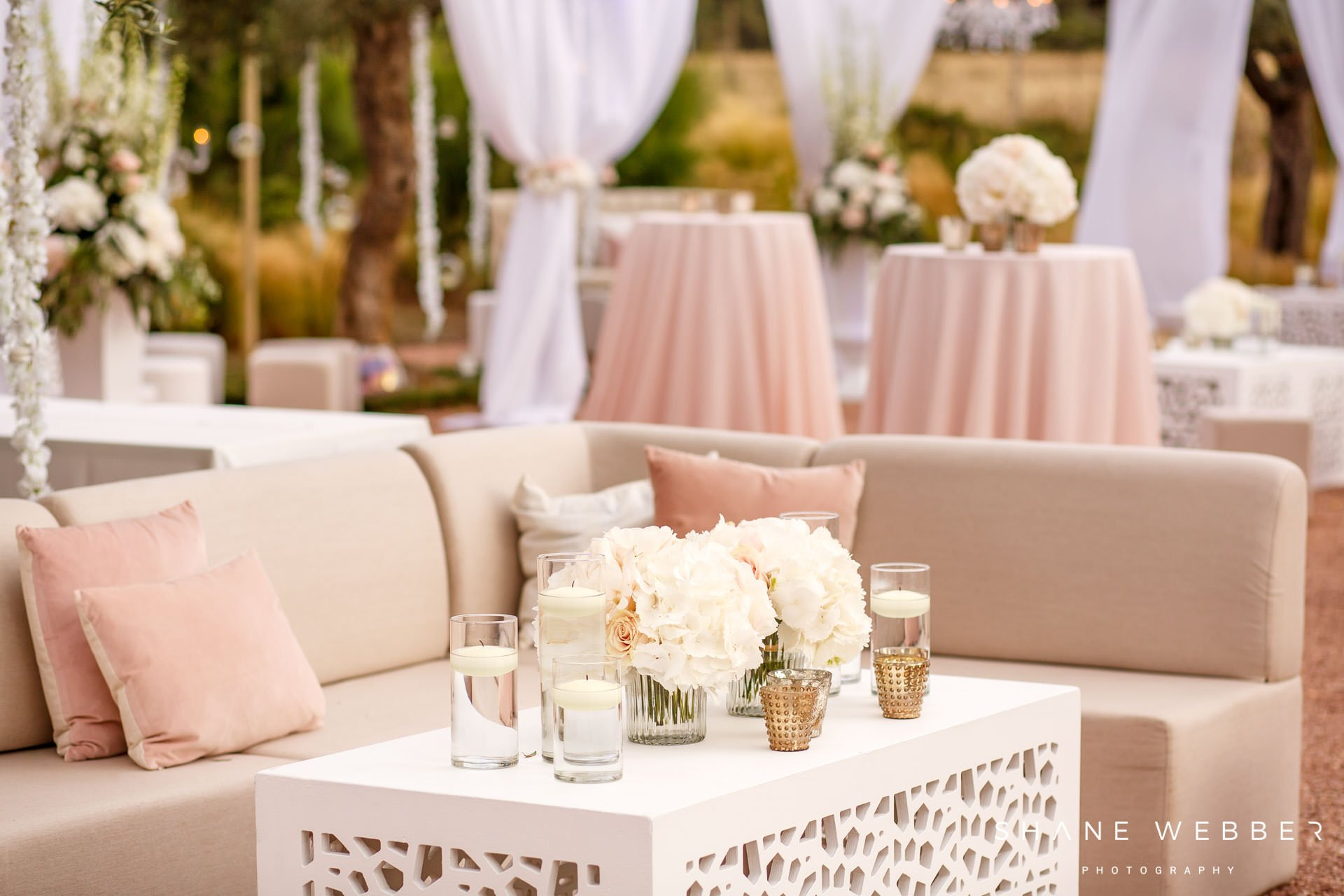 Blush pink and netural wedding chill out area design