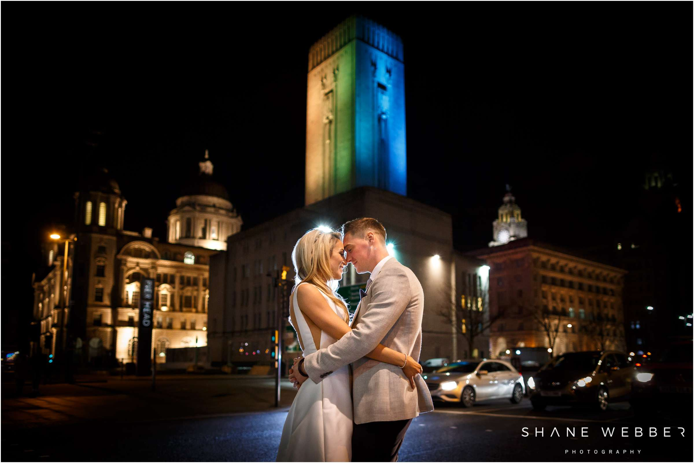Night time wedding photography