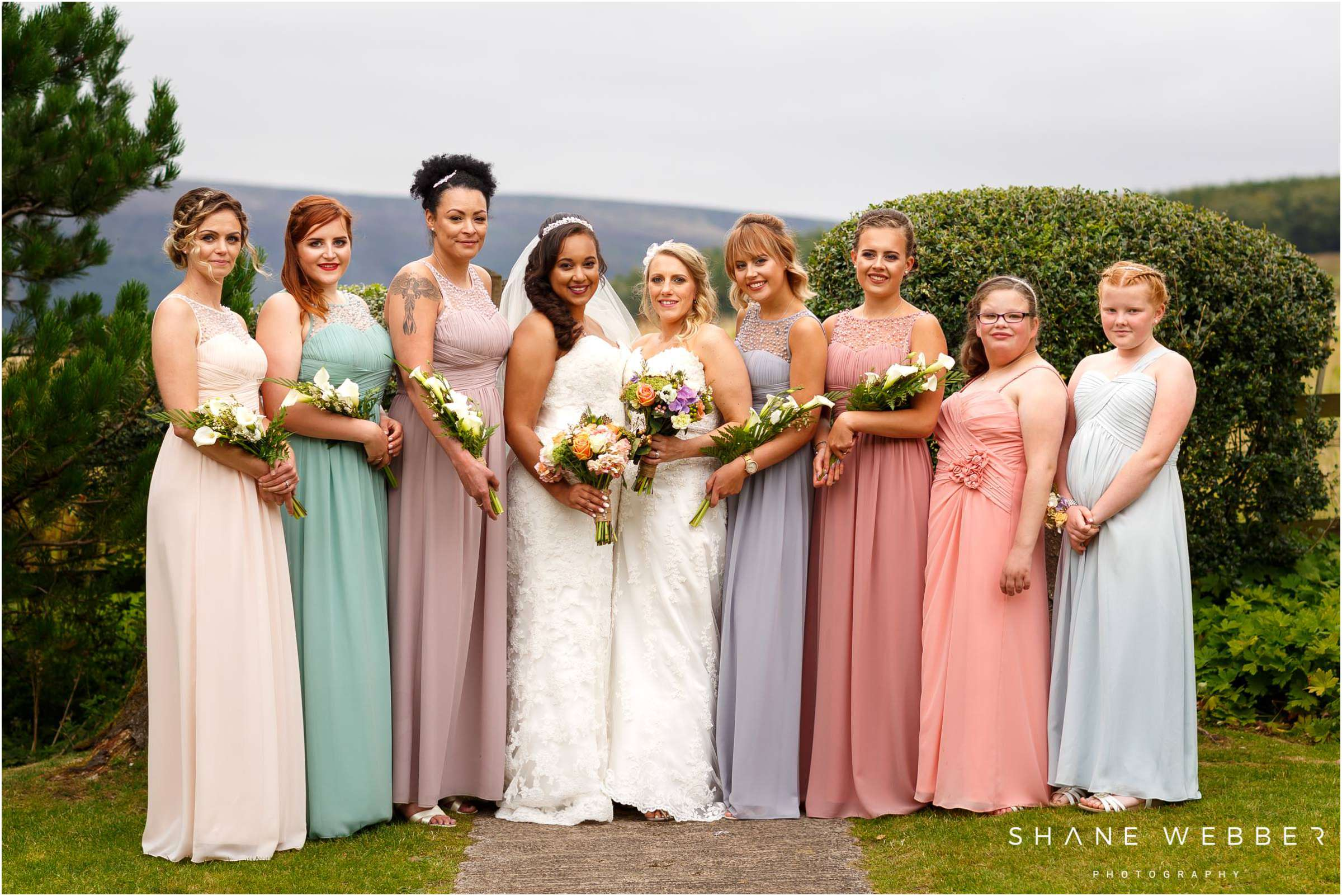 pastel coloured wedding dresses