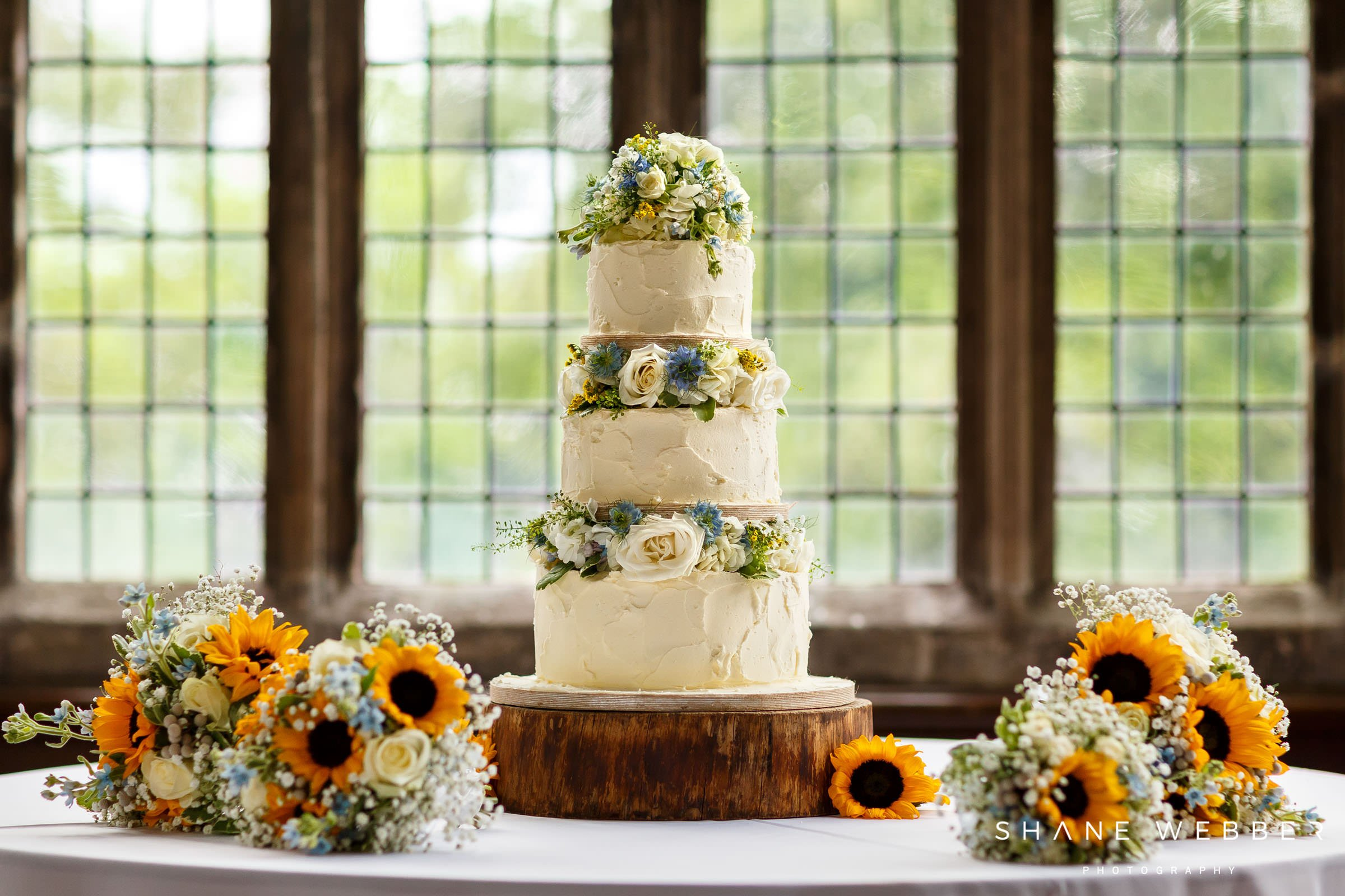 three tier wedding cake at hoghton tower