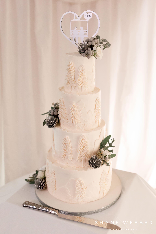 winter wedding cake with buttercream trees