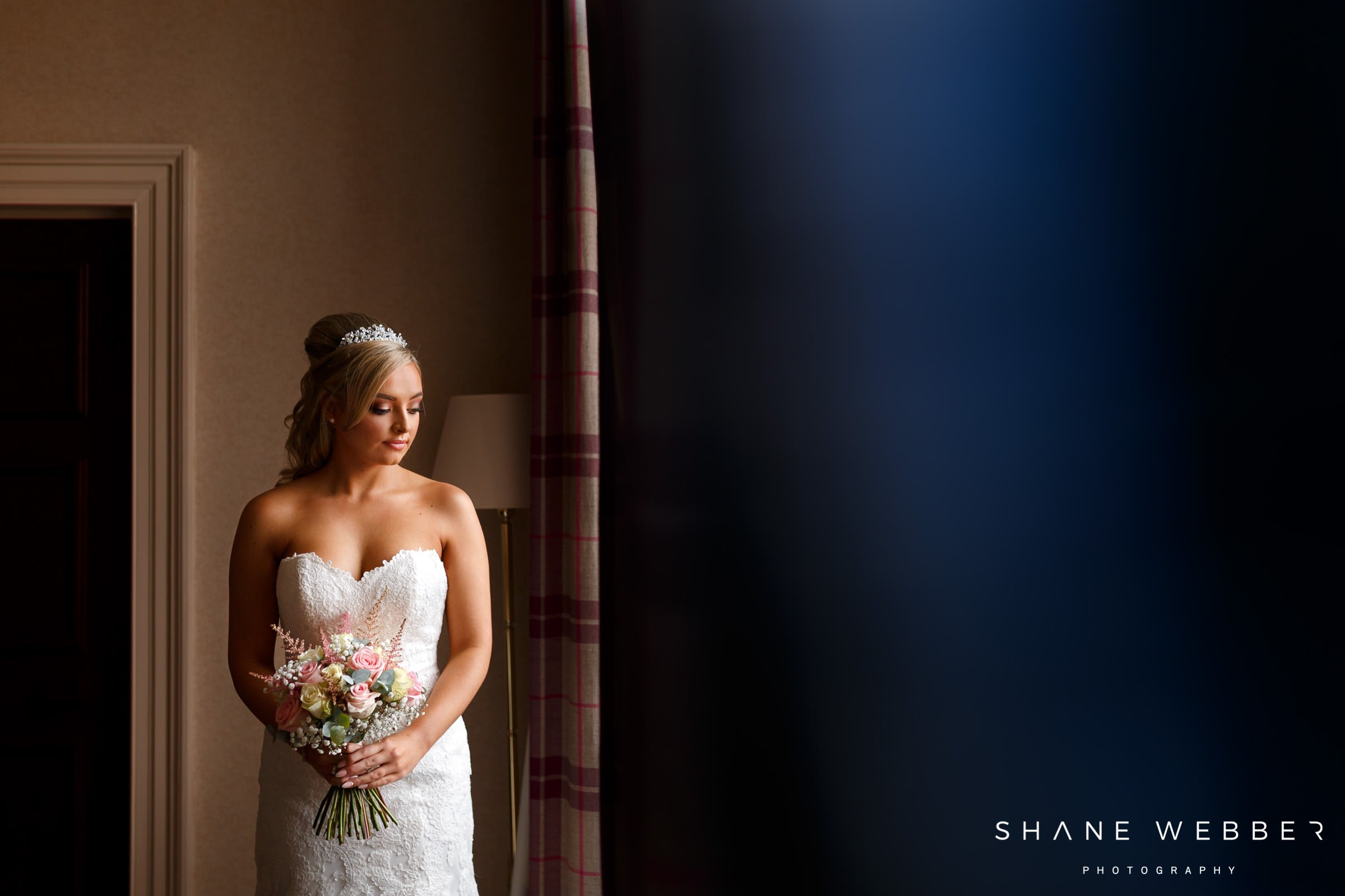 bridal preparation portrait at shrigley hall