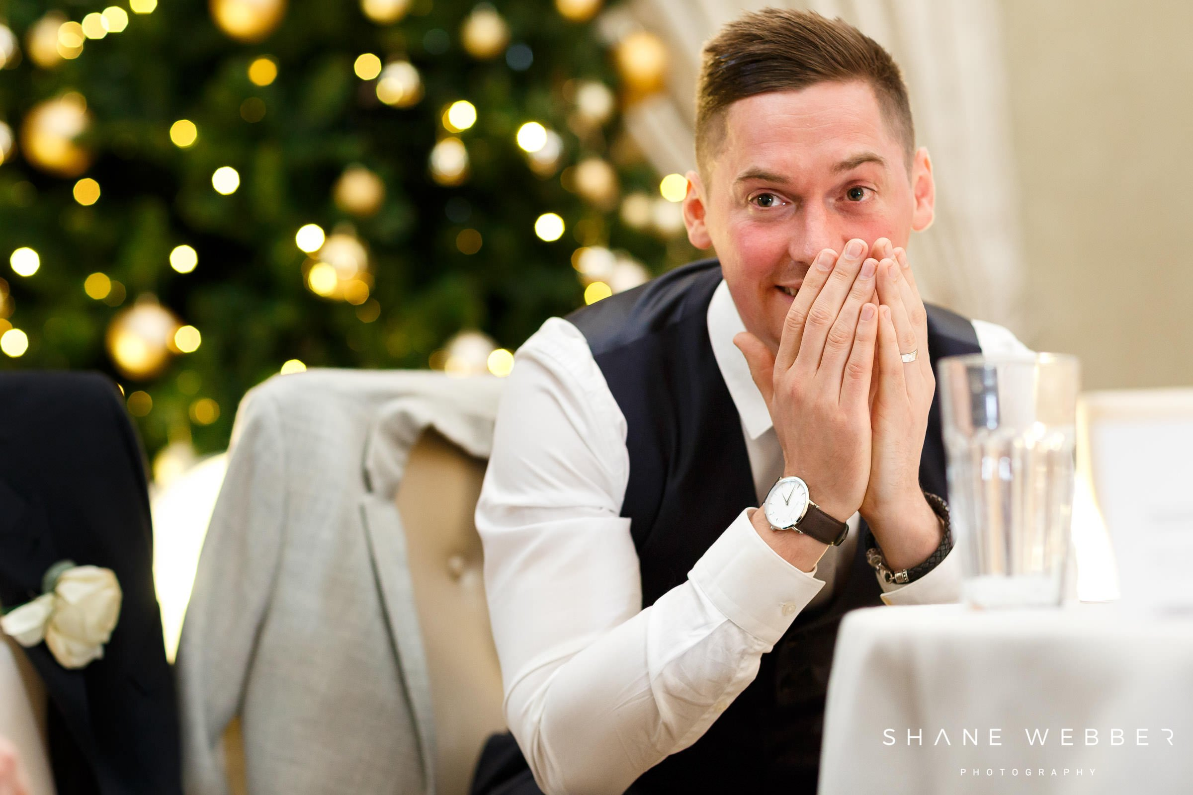 embarrassed groom reaction to best man speech
