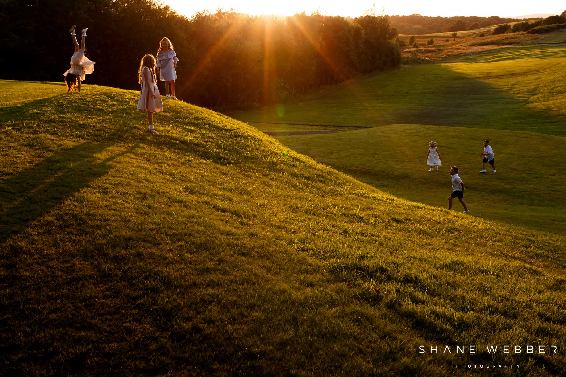 sunset photo of children playing