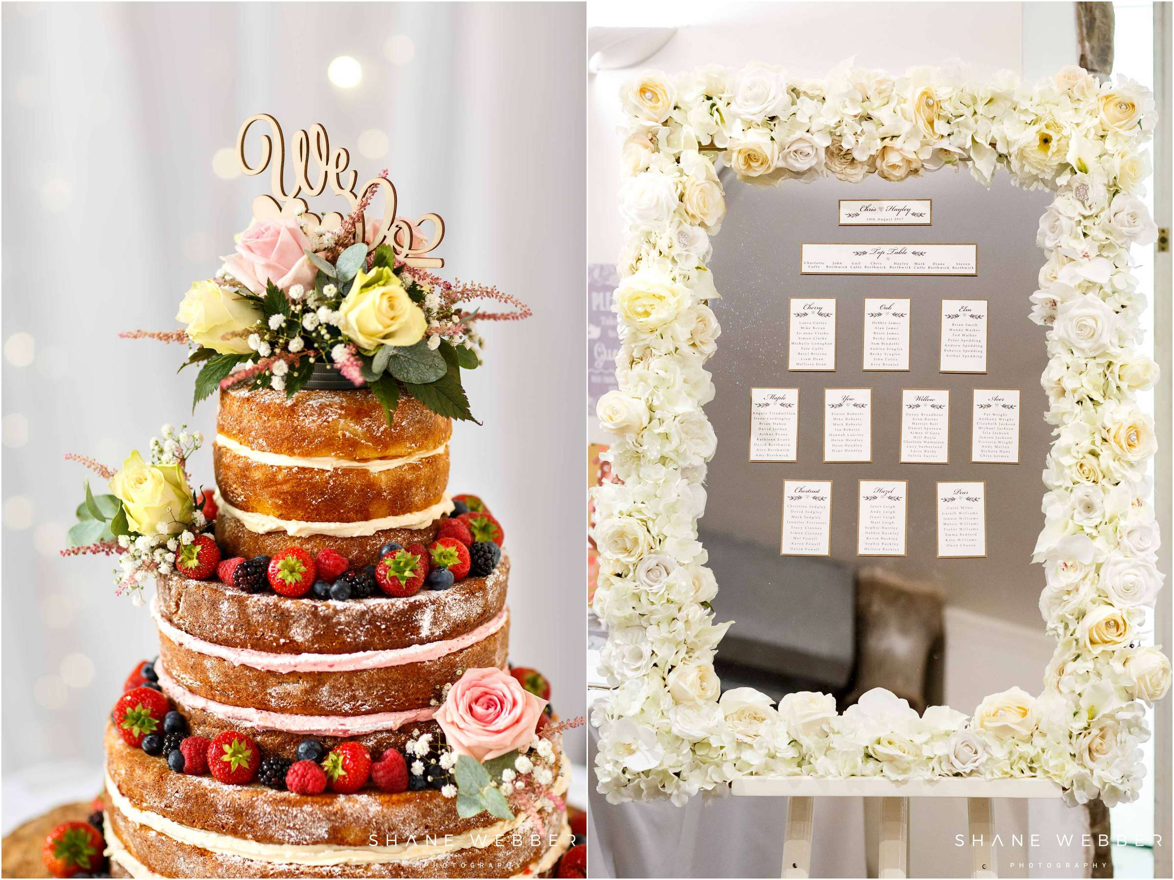 naked wedding cake and seating plan