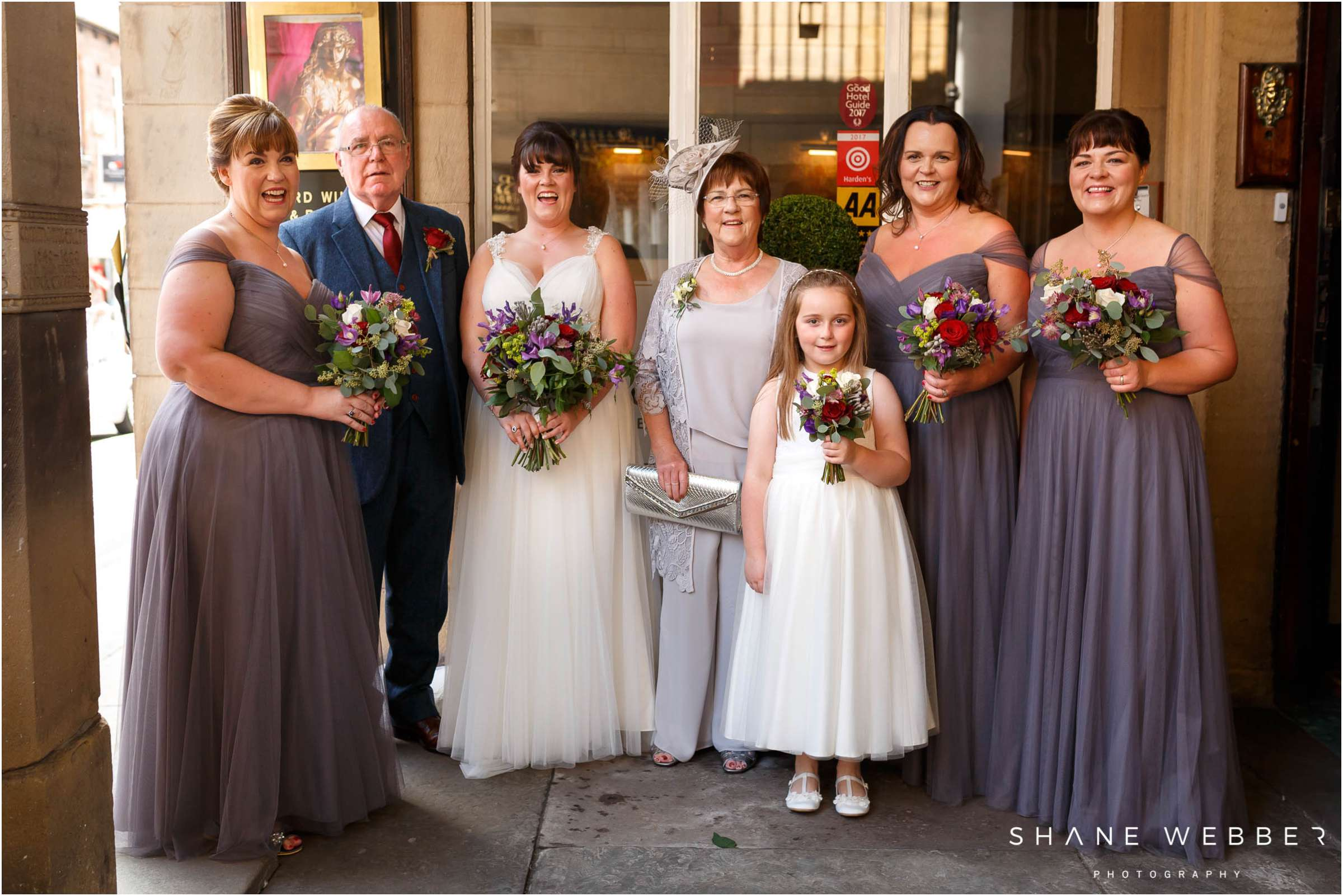 bride and family group photography