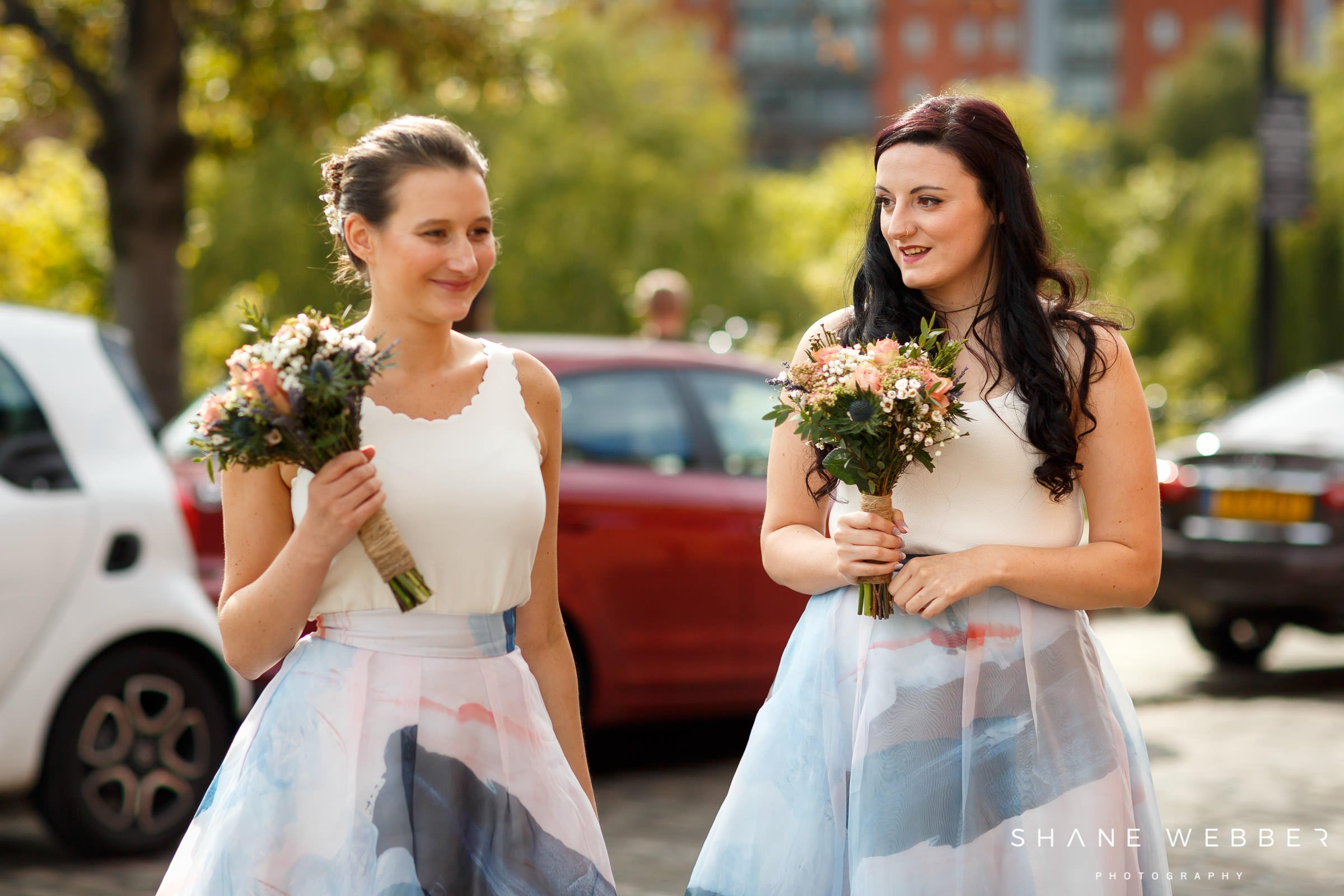 white and blue bridesmaid dresses