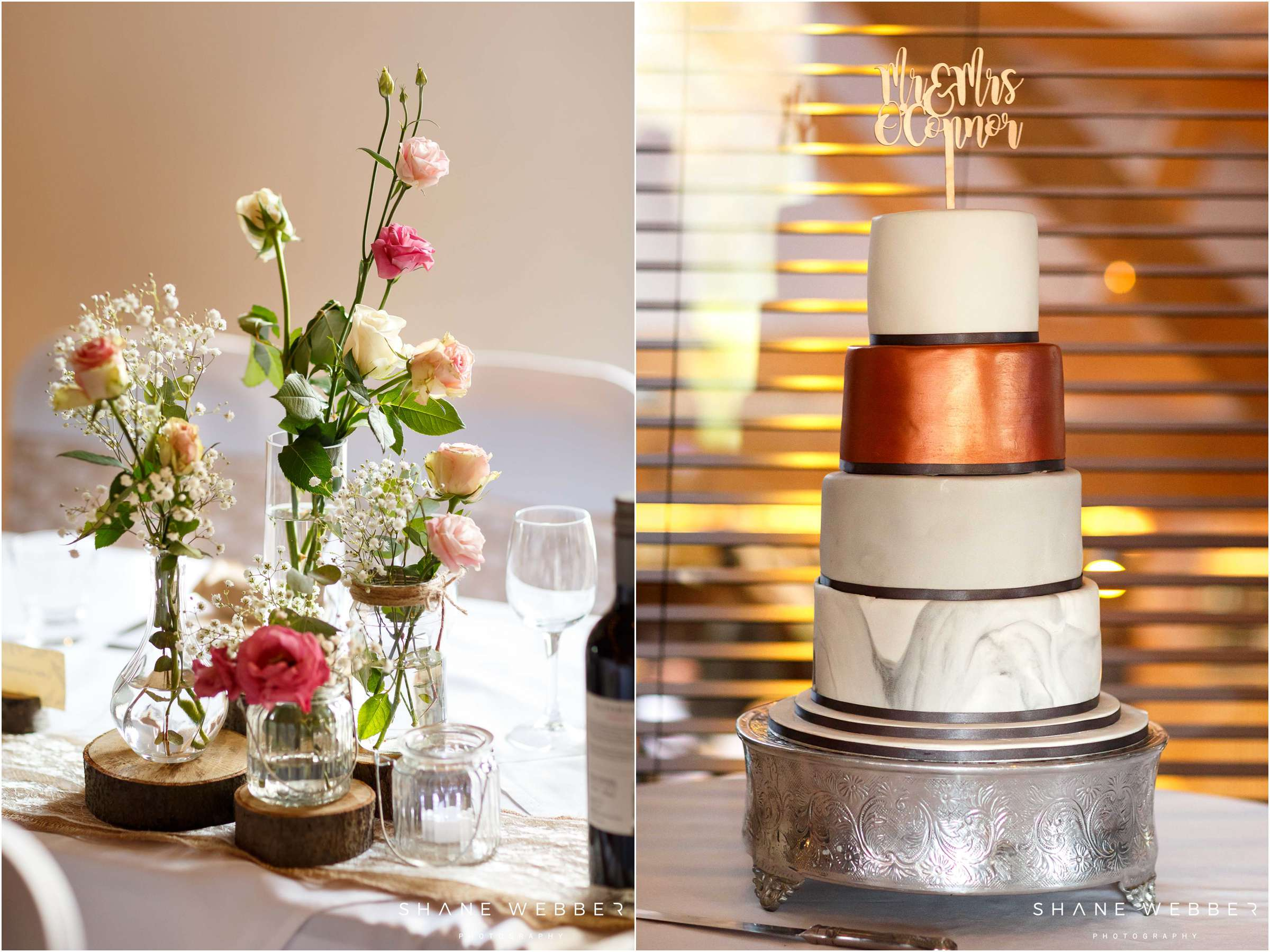 marble and copper wedding cake