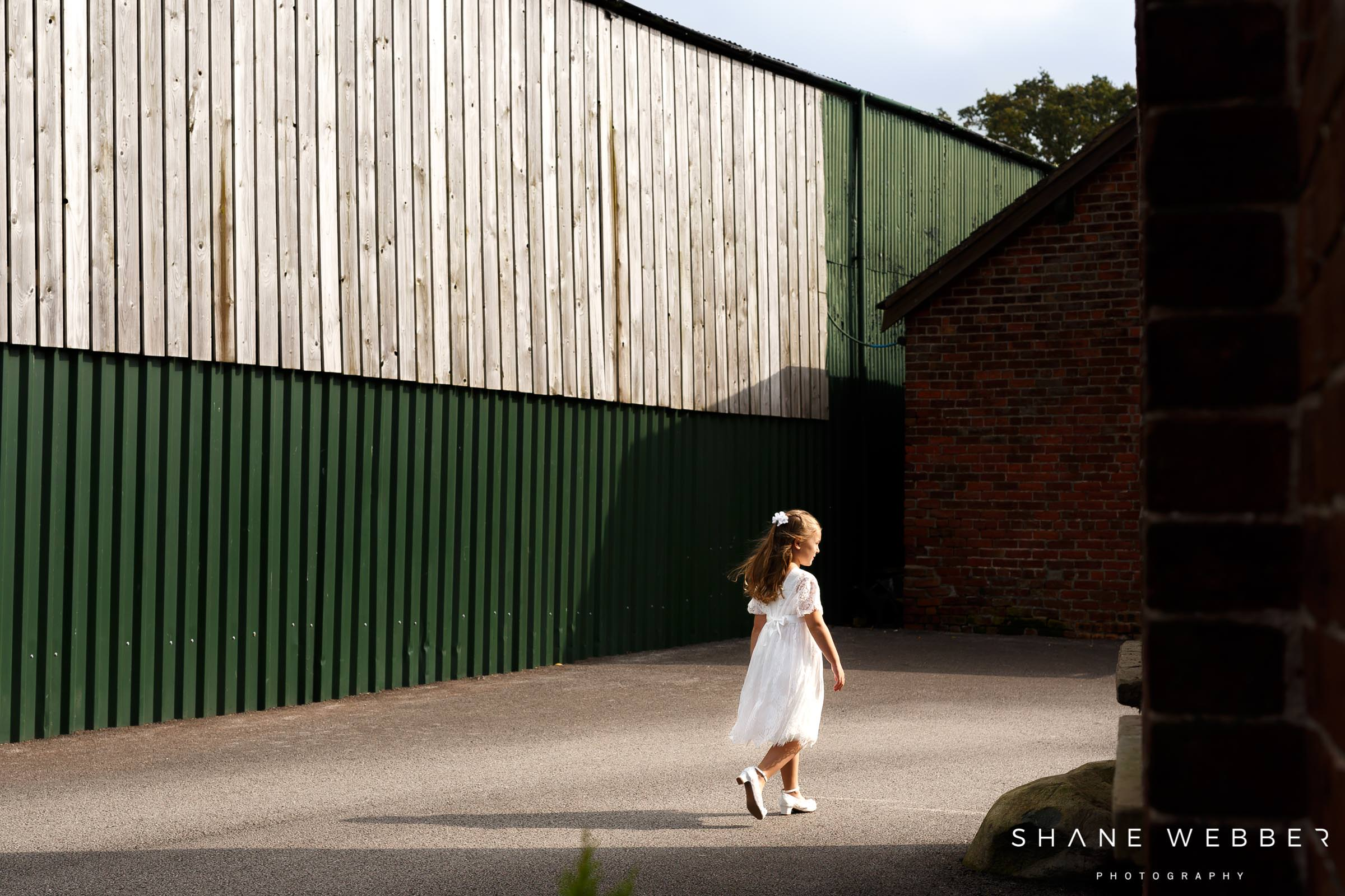 flower girl at Sandhole Oak Barn