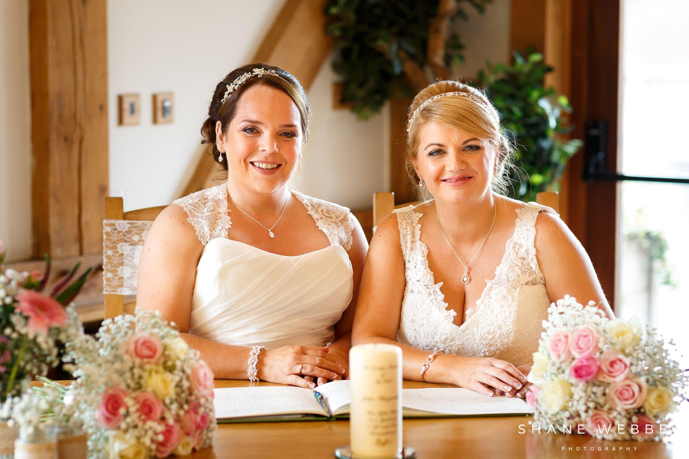 lesbian wedding signing the register