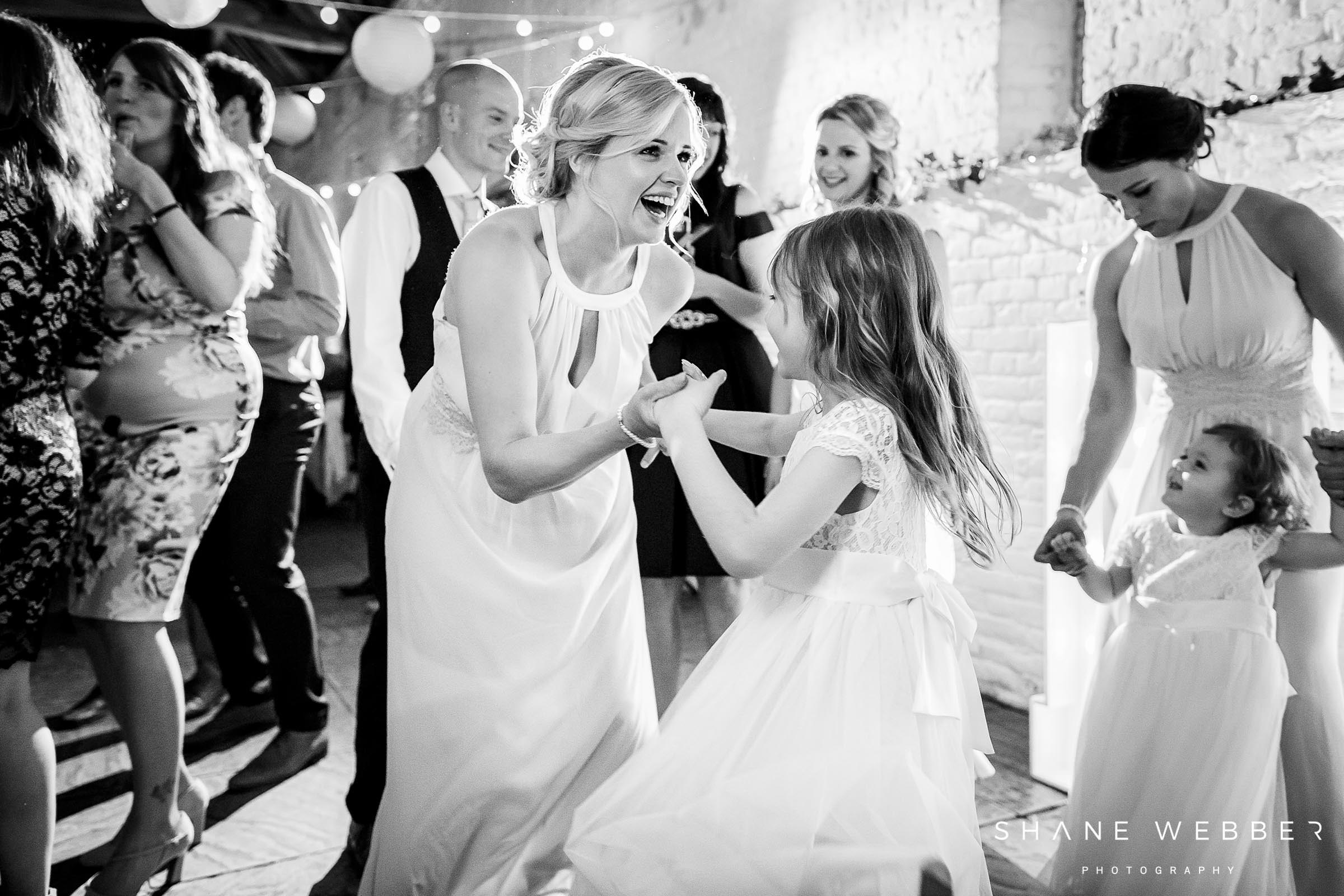 black and white photo of the bridesmaid at ufton court