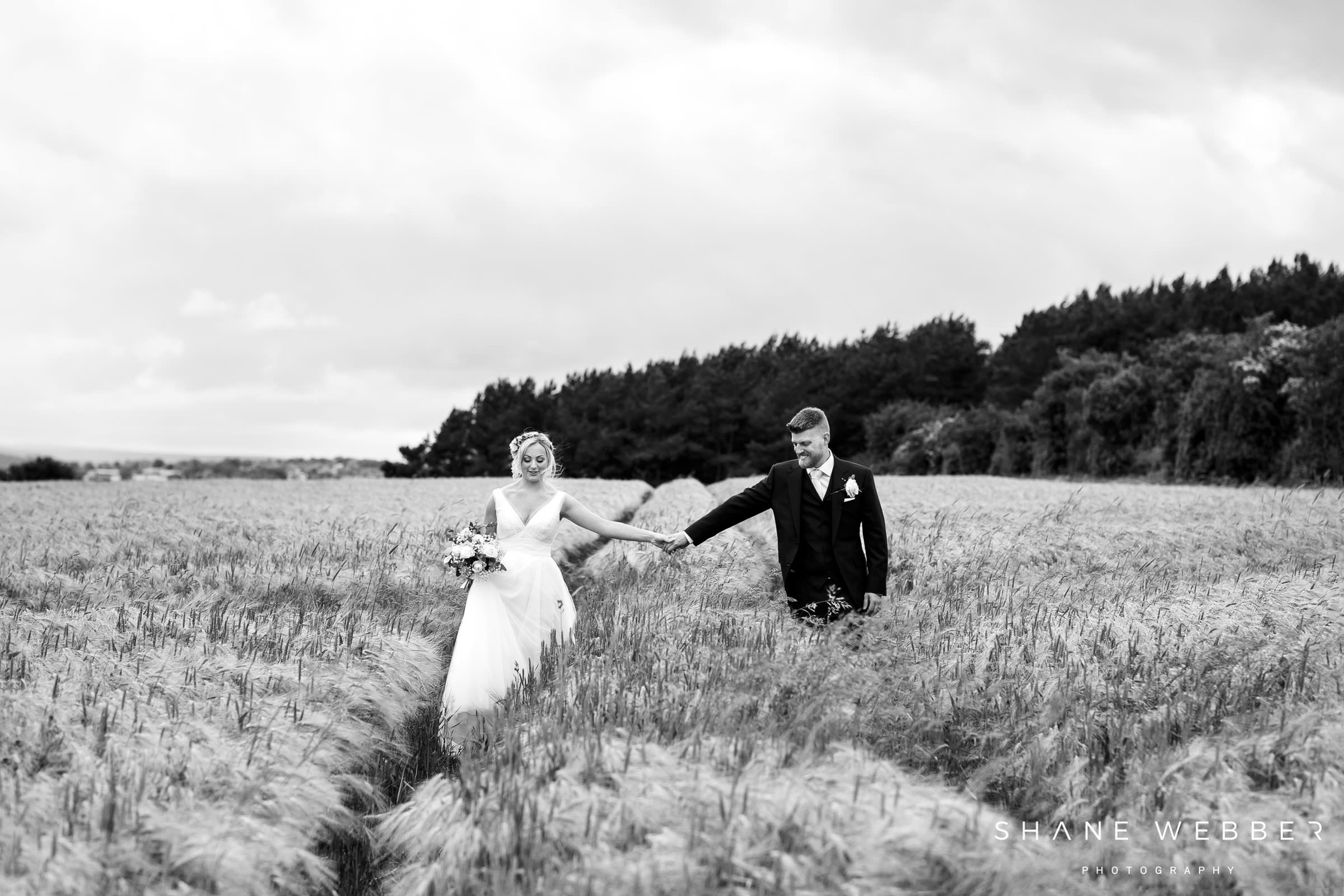 black and white documentary style wedding portrait at healey barn hexam