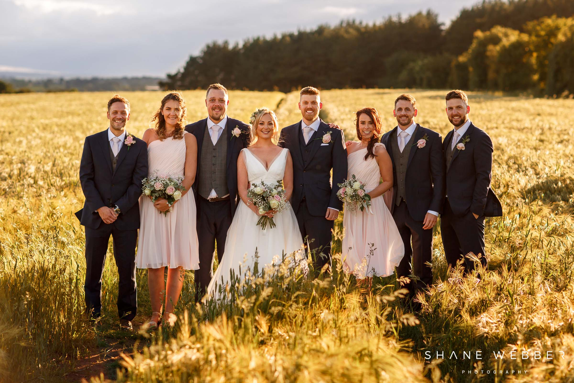 bridal party sunset wedding photos