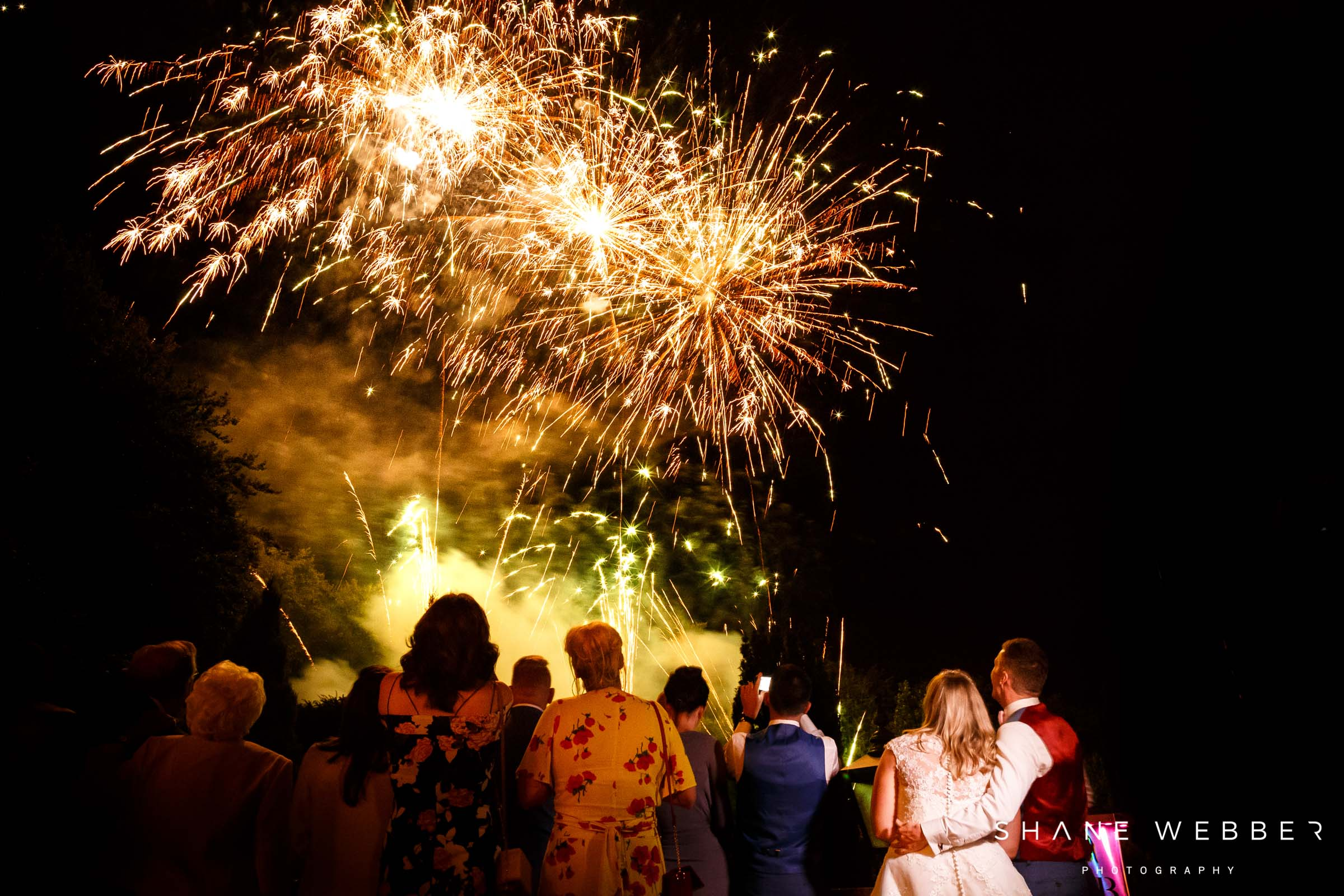 wedding fireworks at nunsmere hall