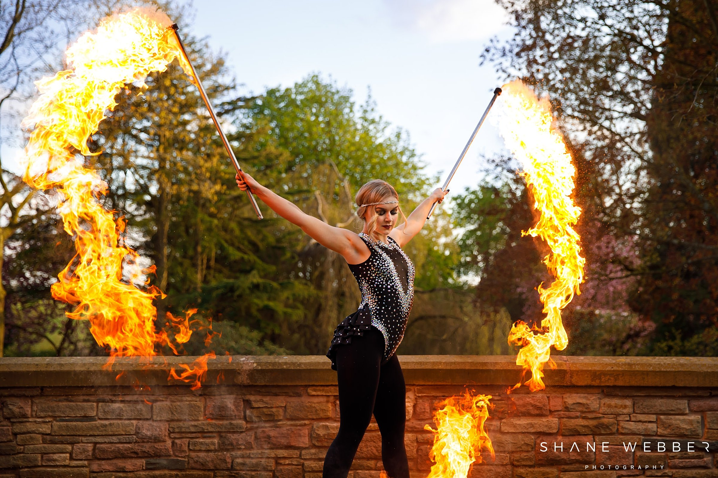 fire dancer performance tilstone house cheshire