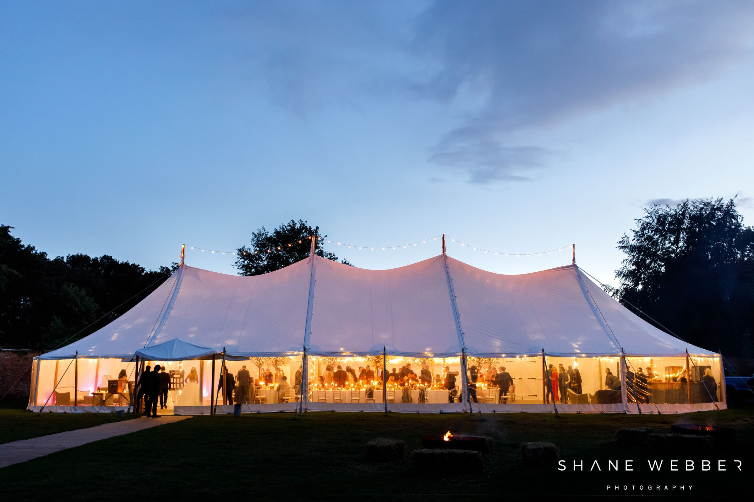 Dorfold Hall wedding marquee at night
