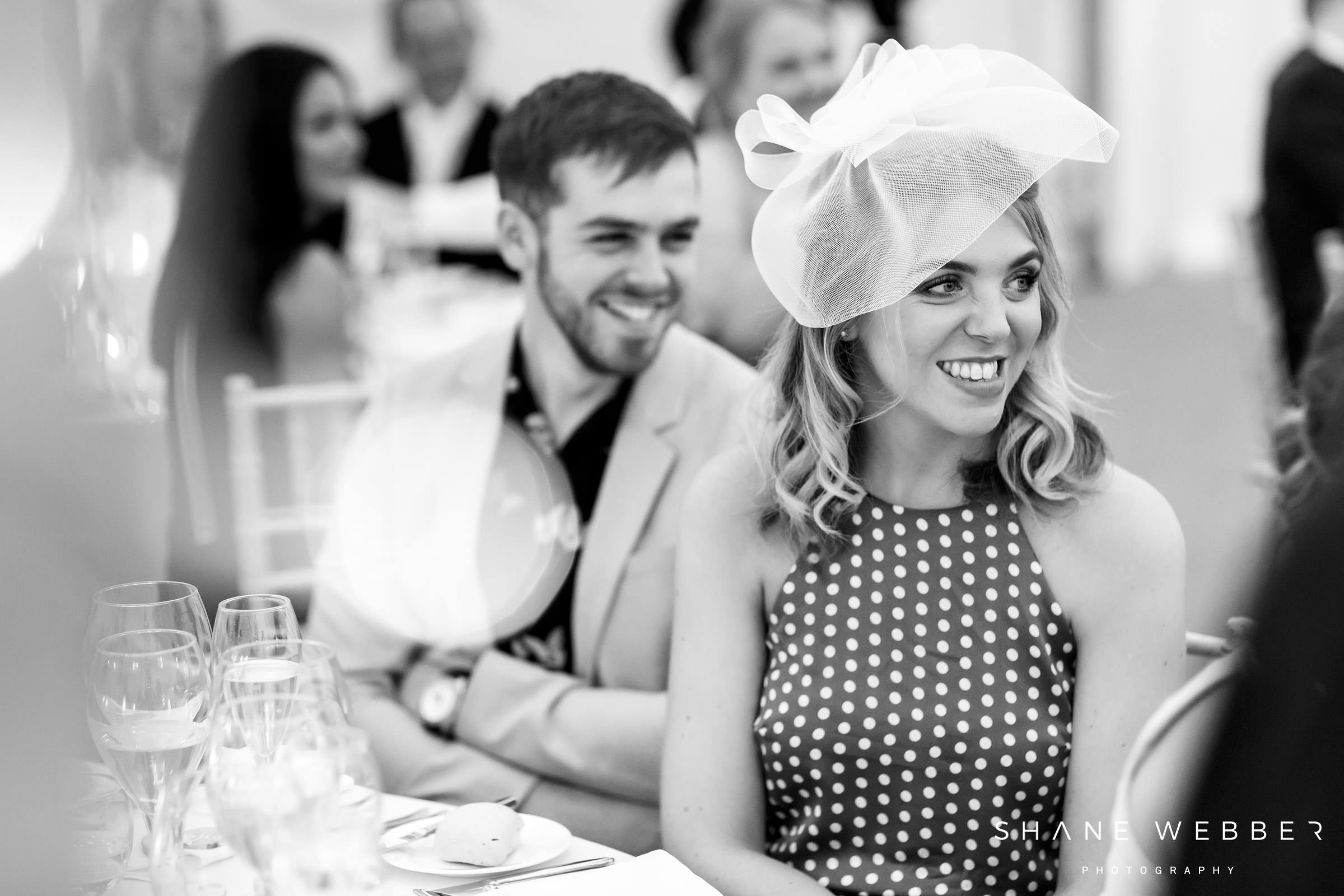 black and white wedding guest photo