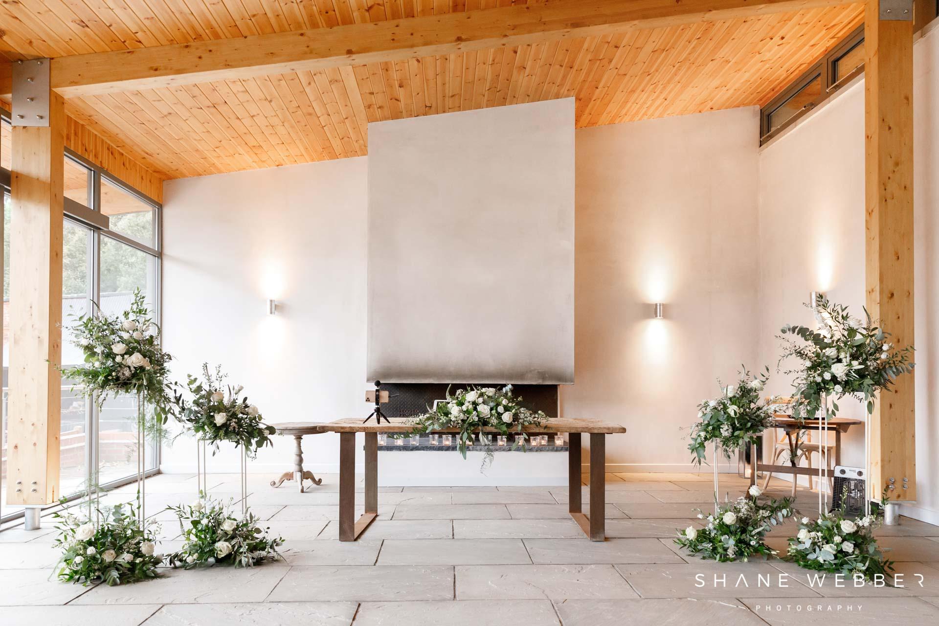 Contemporary ceremony room at Thorpe Gardens