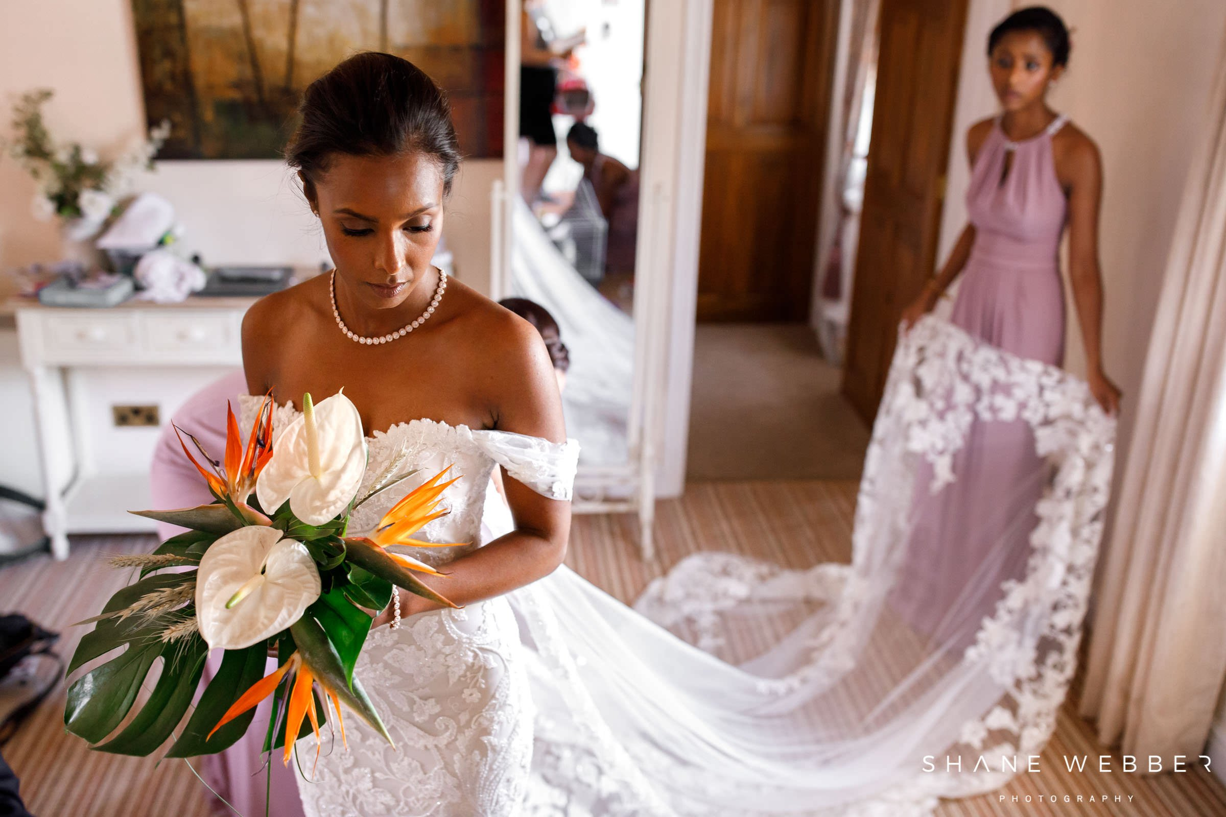 bride in pronovias wedding dress at preparation