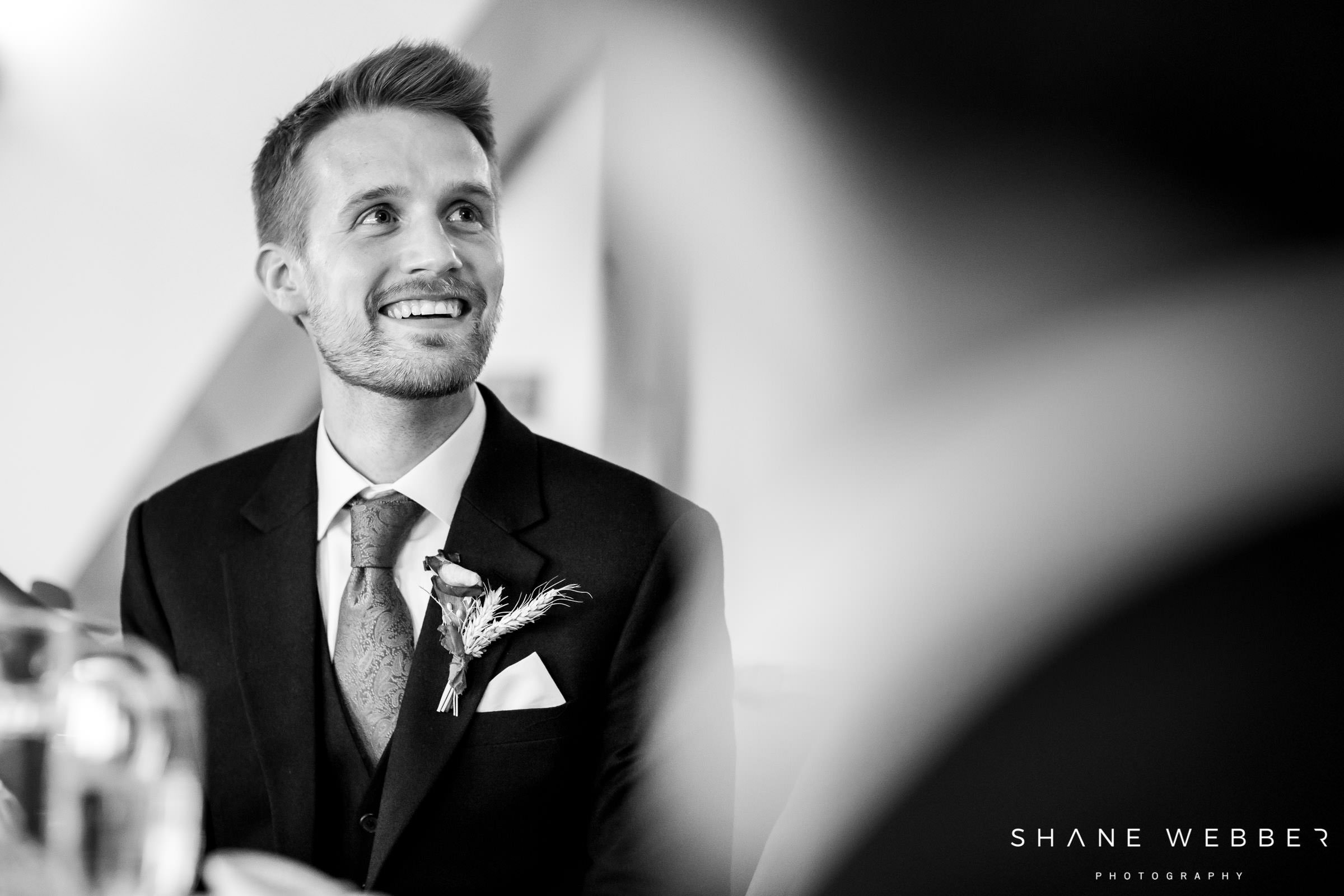 groom black and white portrait photograph