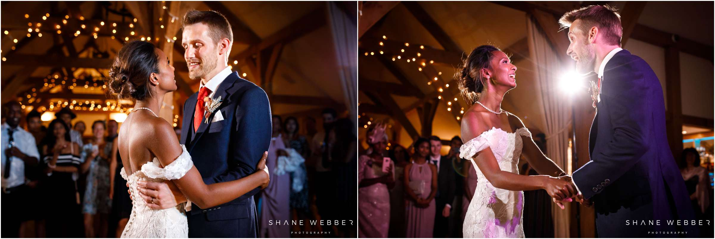 couples first dance in barn wedding venue