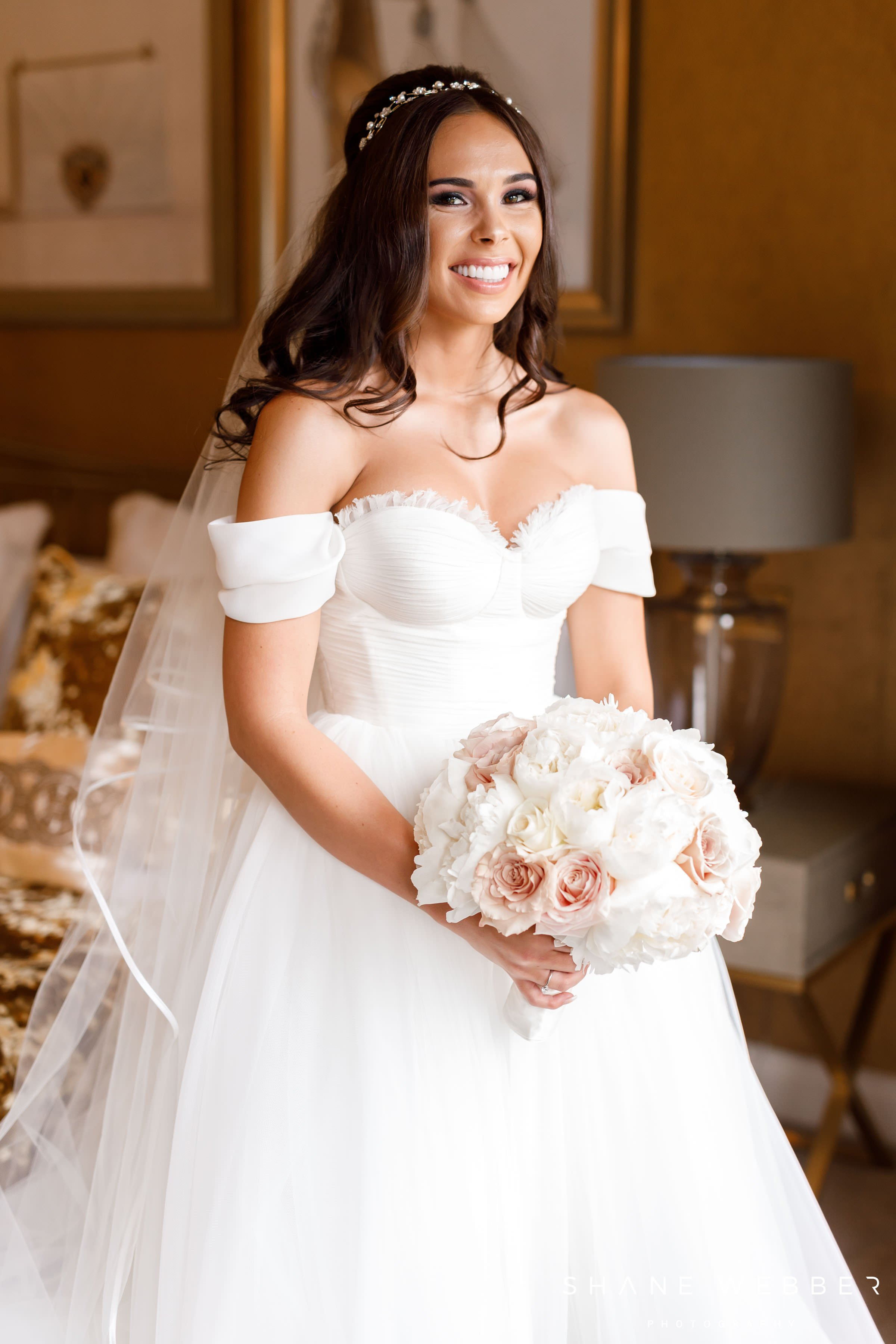 Pronovias wedding dress with Lily Rose Events bouquet