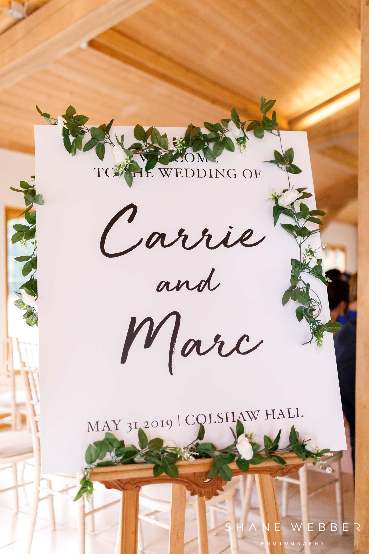colshaw hall wedding sign