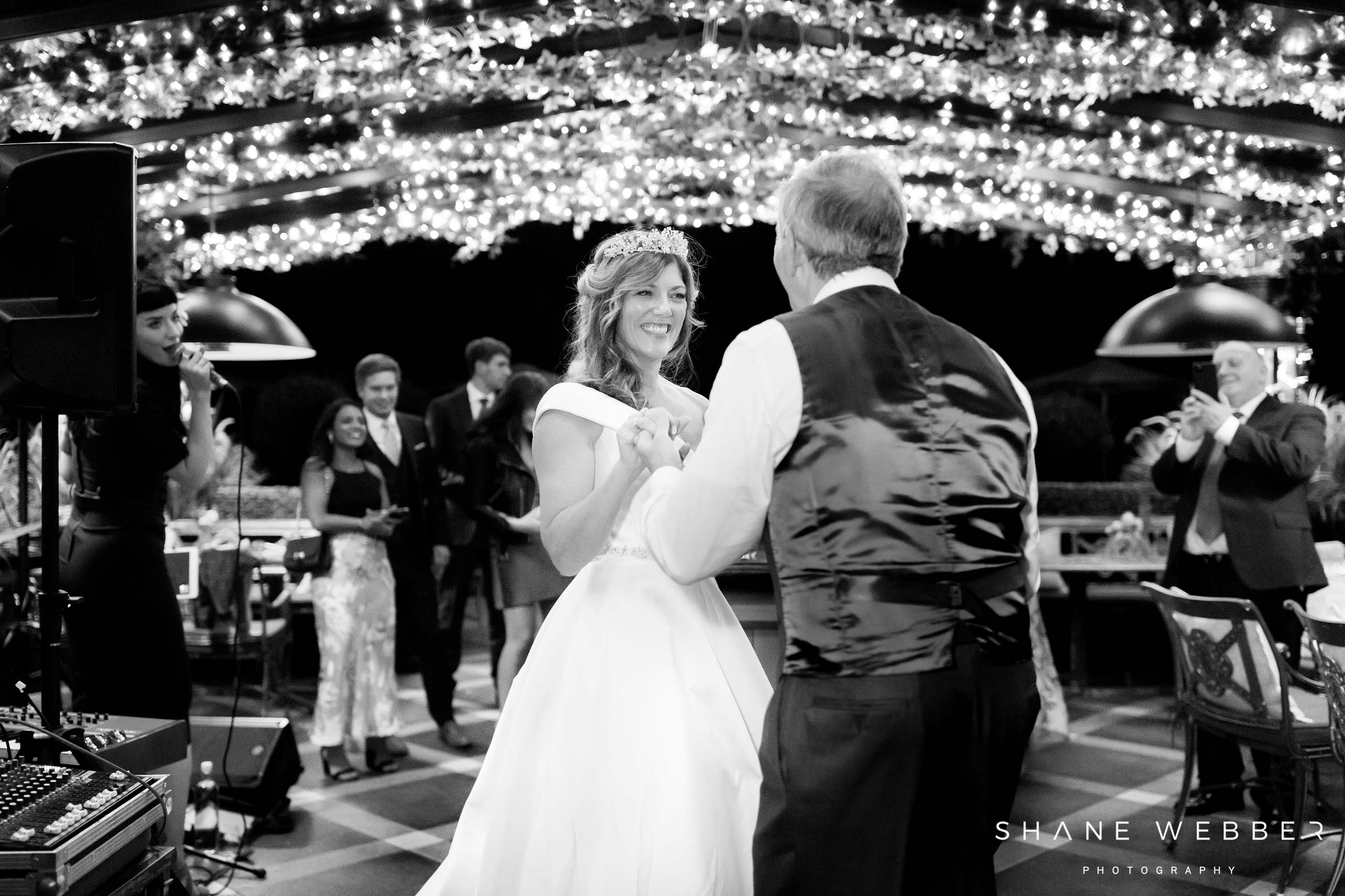 Outdoor first dance in the courtyard at Grantley Hall